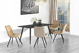 Set of 2 Dining Chairs Fabric Cushion Kitchen Chairs, Metal
