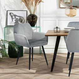 Set of 2 Dining Kitchen Chairs  Blue Grey Upholstered Chair