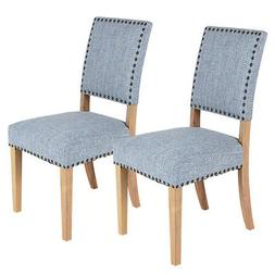 Set of 2 Fabric Dining Chairs w/ Rubber Wood Legs Home Kitch