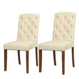 Set of 2 Linen Fabric Wood Accent Dining Chair Tufted Modern