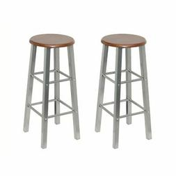 vidaXL Set of 2 Metal Brown MDF Seat Pub Bar Stools High Cha