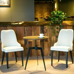 Set of 2 Metal Dining Chairs with Padded Seat and Back