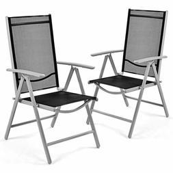 Giantex Set of 2 Patio Folding Chairs Adjustable Reclining I