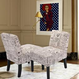 Set of 2 Sofa Accent Chair Armless with Solid Wood Legs Home