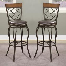 "Set of 2 Swivel Barstool Bar 29""H Stools Chairs Stud Trim PU"