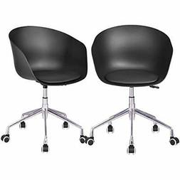 Set Of 2 Task Chair Without Arms Upholstered Swivel Height A