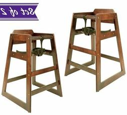 Wooden High Chair for Baby, Walnut, Natural Wood Finish Bab