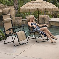 Set Of  Zero Gravity Chairs Folding Lounge Patio Outdoor Rec