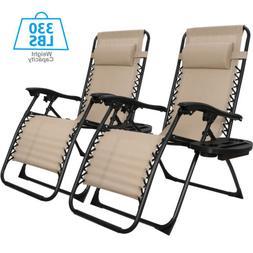 Set of 2 Zero Gravity Recline Chairs Folding Patio Garden Be