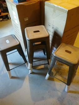 Set of 4 24 inch Metal short Barstools Stackable Cafe Bar St