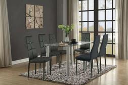 Set of 4/6 Modern Dining Side High Backrest Chairs Metal Fra