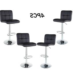 Set of 4 Counter Height Bar Stools Adjustable PU Leather Swi