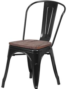 Set of 4 Black Metal Dining Chairs With Wood Seat Modern Rus