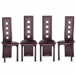 Set of 4 Dining Chairs Steel Frame High Back Armless Home Fu