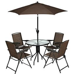 Set of 4 Folding Sling Chairs Steel Armrest Patio Garden Poo