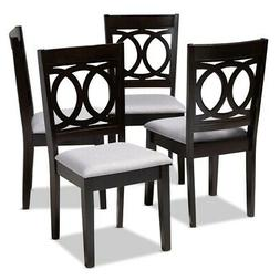 Baxton Studio Lenoir Fabric and Wood Dining Chairs in Gray a