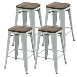 Set of 4 Metal Bar Stool 26'' Retro Style Bar Chair with Woo