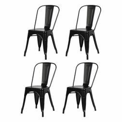 Set of 4  Metal Indoor-Outdoor Chairs Distressed Kitchen Din
