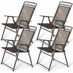 Set of 4 Patio Folding Sling Chairs Steel Textilene Camping