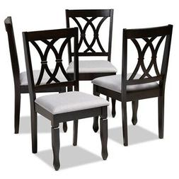 Set of 4 Baxton Studio Reneau Gray Fabric Brown  Wood Dining
