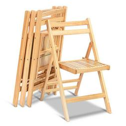 Set of 4 Solid Wood Folding Chairs Slatted Seat Wedding Pati