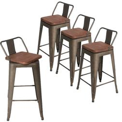 Set of 4 Swivel Bar Stools Counter Height Metal Bar Chairs L