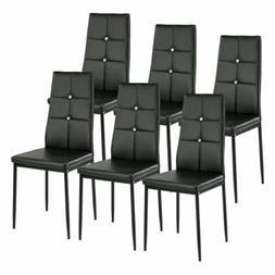 Set of 6 Black Dining Chairs Kitchen Room Furniture Backrest