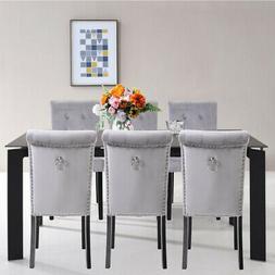 Set of 6 Elegant Fabric Dining Chairs Tufted Velvet Upholste