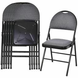 Set of 6 Folding Chairs Fabric Upholstered Padded Seat Metal