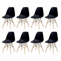 Set of 8 Dining Chairs Mid Century Modern Shell Lounge Plast