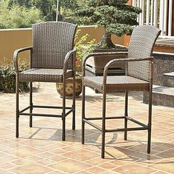 Set Of Two Outdoor Rattan Wicker Bar Chair Seat Patio Furnit