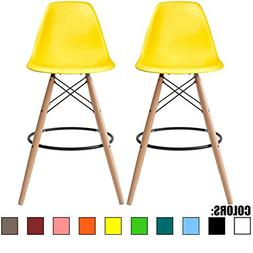 """2xhome Set of Two  - Yellow - 25"""" Seat Height Eames Chair St"""