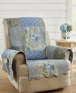 Shabby Chic Quilt Chair Recliner Cover W/ Pockets Sure Fit