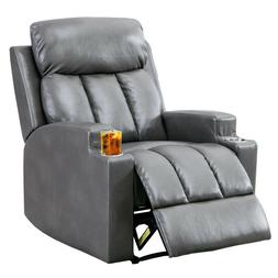 Single Recliner Chair PU Leather Padded Armrest Seat With Cu