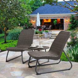 Small Patio Set 3 Pcs Bistro Table Lounge Chairs Outdoor All