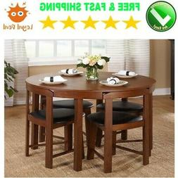 Small Round Dining and Kitchen Table Furniture Set with Chai