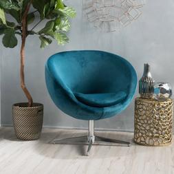 Sphera Modern Circular Velvet Swivel Chair with Chrome Finis