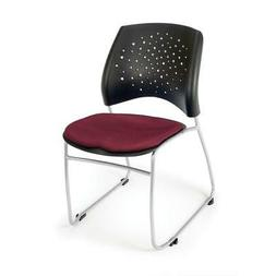 OFM Stars Series Stack Chair - Burgundy Seat - Sled Base - P