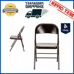 Steel Folding Chair Armless Black Metal Steel Rubber-Capped