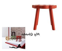 IKEA Stool Footstool Chair Solid Wood RED RYSSBY 2014