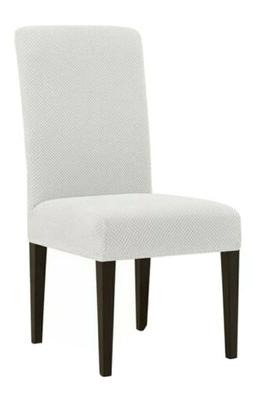 Deconovo Strechy Jaquard Chair Covers Ivory White Chair Slip