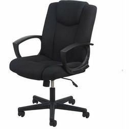 Swivel Upholstered Task Chair with Arms in Black