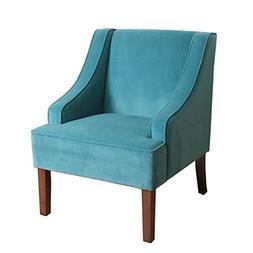 HomePop Swoop Arm Accent Chair in Teal  Velvet