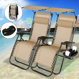 Tan Set of 2 Folding Zero Gravity Lounges Chairs Beach Patio