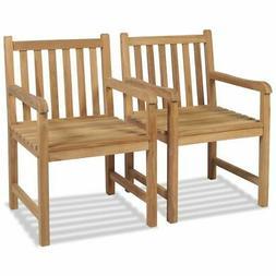 teak 2x outdoor chair wooden patio lawn