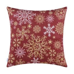 CaliTime Throw Cushion Covers Pillows Cases Christmas Snowfl