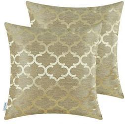 CaliTime Throw Pillow Cushion Covers, Quatrefoil Poly Jacqua
