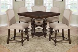 Traditional Set of 4pc Counter Height Taupe Fabric Chairs Da