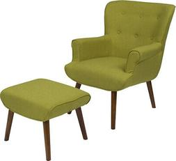Upholstered Wingback Chair with Ottoman