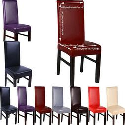 US PU Leather Dining Chair Back Cover Seat Protector Stretch
